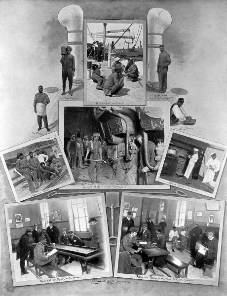Series of Photographs showing Lascar seamen at work in the stokehole of a passenger liner (centre image) and at rest in the Home for Asiatic Seamen (bottom images). Lascar seamen were employed on many of the coal-fired steam-ships from Britain to India