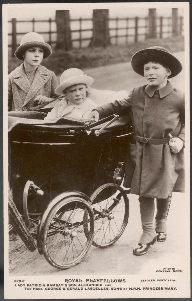 GEORGE HENRY HUBERT LASCELLES later 7th EARL of HAREWOOD (right) with his brother Gerald David (b 1924) in the pram and their cousin Alexander Ramsay (left)