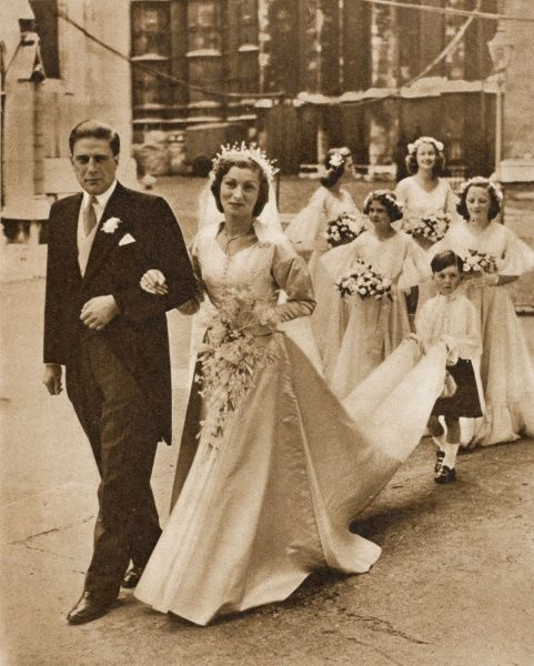 GERALD DAVID LASCELLES, son of the Princess Royal pictured after his marriage to Angela Dowding in 1953