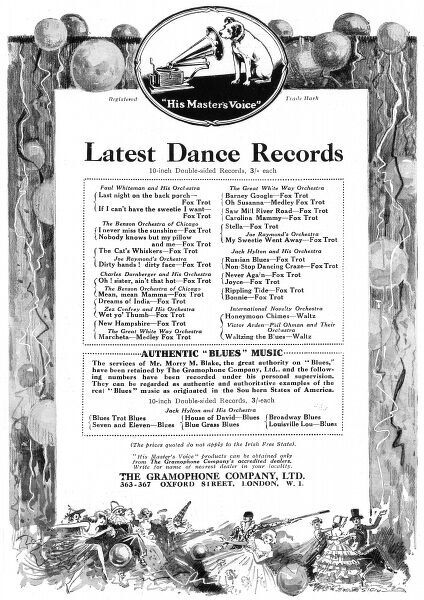 An advertisement for the latest 10 inch, double sided records from the Gramophone Company. Date: 1923