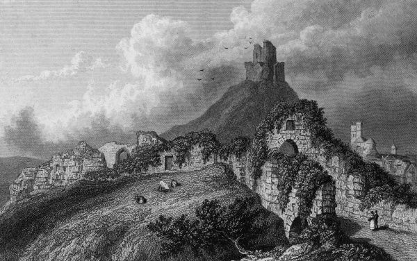 The ruins of Launceston Castle, Cornwall Date: 1829