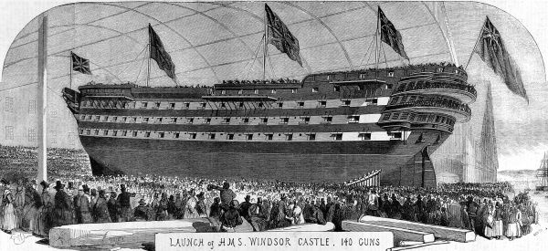 Engraving of the re-launch of HMS 'Windsor Castle', 140 Gun First rate warship, on 14th September 1852 at Pembroke Dockyard. HMS 'Windsor Castle' had first been launched in 1849, but was lengthened and had engines fitted in 1852