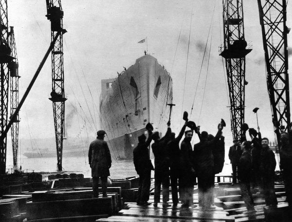 Photograph of the launch of the R.M.S. 'Queen Mary', viewed from the slipway she had just left, 26th September 1934. The Cunard White Star Liner then spent the next year-and-a-half in Clydebank, being fitted out by the John Brown shipyard
