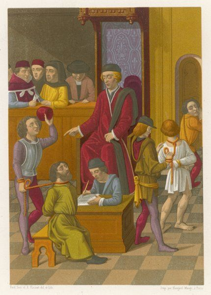 A scene in a French court showing judgement being passed on criminals who are bound at the neck and the wrists