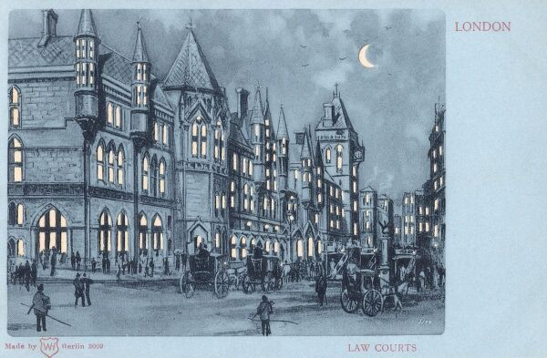 The Law Courts, London - a hold-to-light postcard Date: circa 1901
