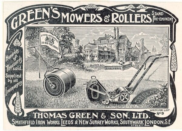 British advertisement for a lawn mower and garden roller