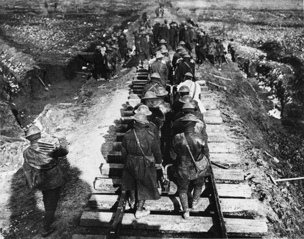 British troops laying a railway line near Bailleul in France on the British front during World War I on 26th May 1917