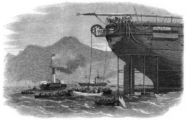 Laying the Atlantic Cable : paying out the land end of the cable from the stern of the 'Niagara'. Date: 1857