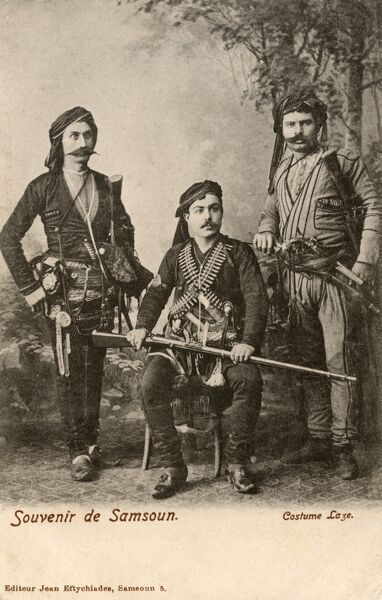 "Predictably the Black Sea man, or the ""Laz"" as he is called with a mixture of affection and sneer, has become a stock figure of the Turkish social typology. This gang is from Samsun. Date: circa 1902"
