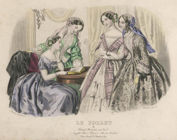 NB: Bows arranged on the bodice like echelles & fringing; open bodice with a habit shirt; a waistcoat body; white dress with plaid sash crossed over the bodice & floating ends