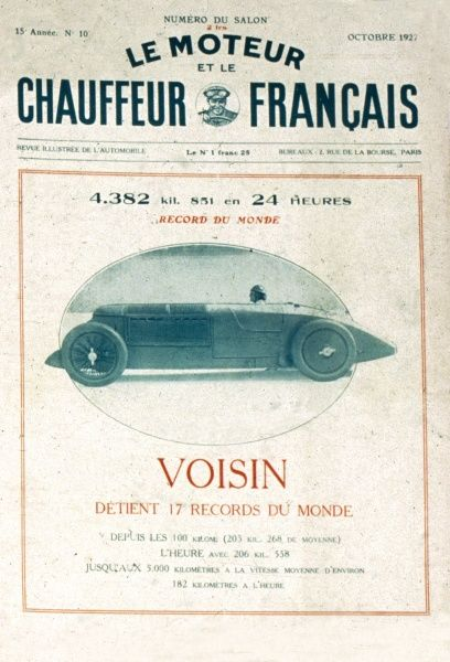 Magazine cover of French motoring magazine Le Moteur et le Chauffeur Francais featuring the Voisin racing car