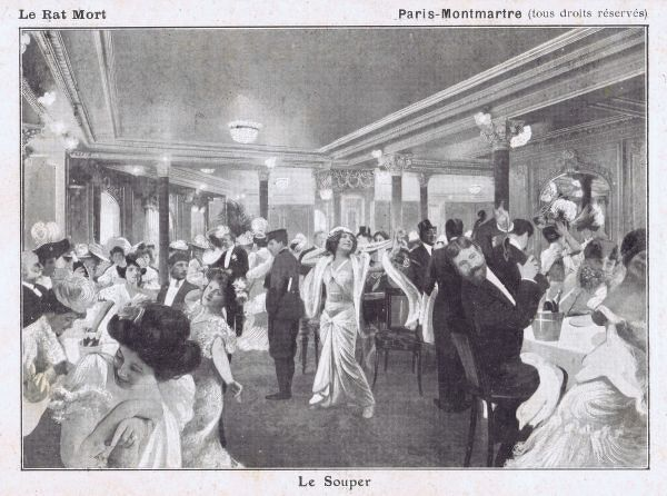 Sketch of Le Souper at Le Rat Mort, Montmartre, showing dancers and diners, Paris, 1921 Date: 1921