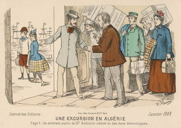A French family prepare to embark for Algeria - at this time, a French colony. Two servants accompany the family, as well as porters carrying their luggage