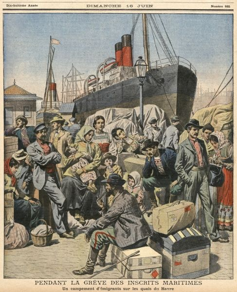 Emigrants waiting on the quayside at Le Havre, France, for the ship which will take them to America