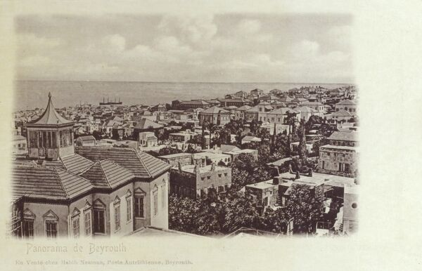 Lebanon - Beirut - Panorama over the rooftops out to sea Date: circa 1901