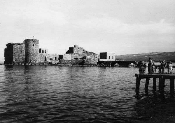 The former Crusader fortress at Sidon, Lebanon. Sidon was originally the most important Phoenician trading centre in the Mediterranean. Date: 1930s
