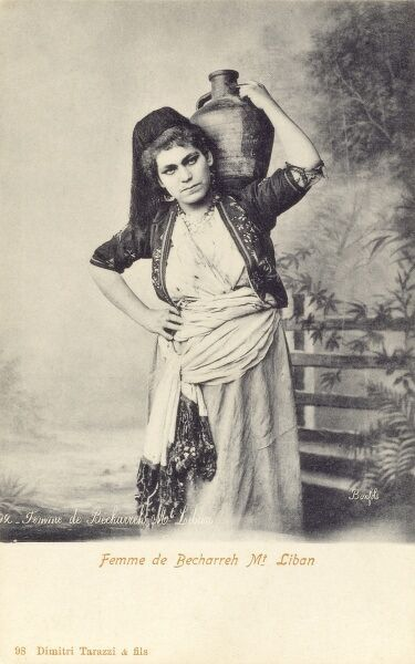 Northern Lebanon - A woman of Bechareh, Mount Lebanon Date: circa 1908