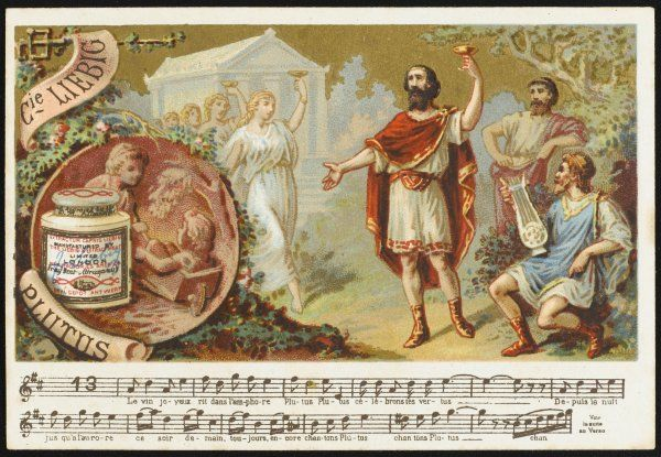 The virtues of Plutus are celebrated in song and wine