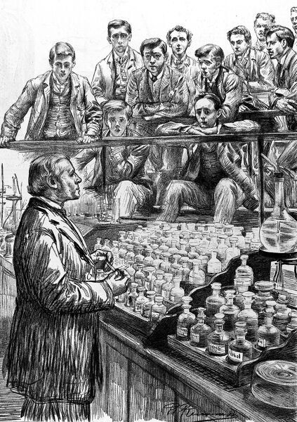 An illustration showing medical students at a lecture