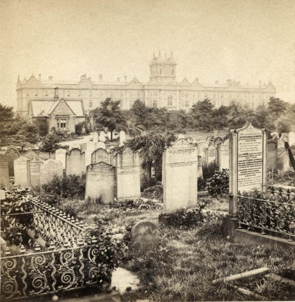 A very early photograph of Leeds Workhouse from Burmantoft's Cemetery, Beckett Street, Leeds, West Yorkshire