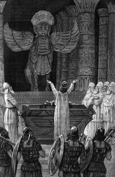 The body of Hiram was buried under the alter of the Temple and Solomon, abandonning the cult of Adonis, sacrificed to Moloch, the god Tyrian. 1890s