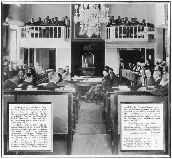 Photograph showing the Legislative Council of the Indian Governor-General, 1910. Lord Minto is pictured in 'the chair' at centre