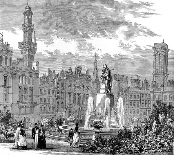 Engraving showing the garden, with fountains, of Leicester Square, London, 1874
