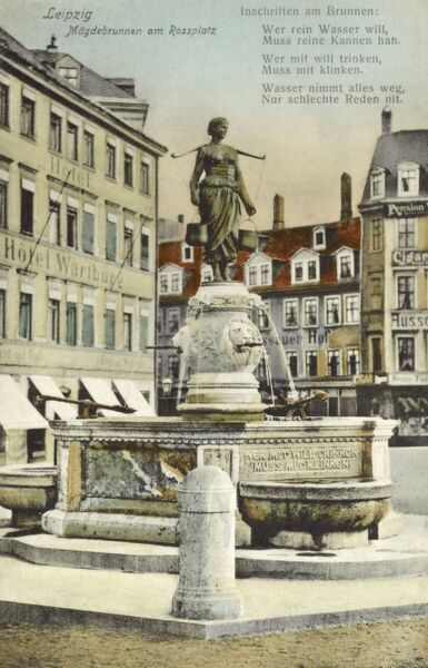 The Milkmaid's Fountain (Magdebrunnen) in Rossplatz, Leipzig, Germany. Date: circa 1910s