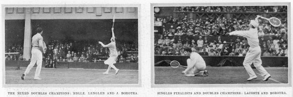 Two pictures showing French pairs playing doubles at Wimbledon in 1925. On the left is a sartorial duo; Suzanne Lenglen in her bandeau stretching for a smash, while her partner Jean Borotra, the 'bounding Basque', watches wearing a jumper