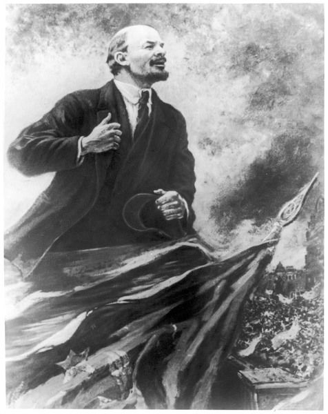 VLADIMIR ILICH ULYANOV LENIN The Russian statesman is depicted making a rousing speech