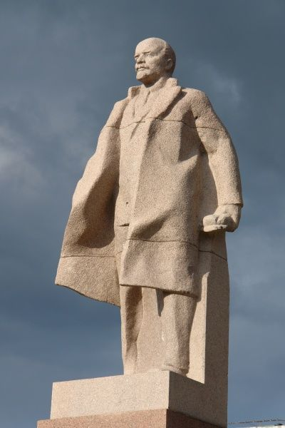 Statue of the Communist leader Vladimir Ilyich Lenin (1870-1924) in the city of Omsk, Siberia, Russia