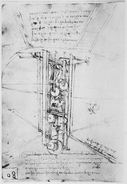 LEONARDO DA VINCI Sketch of a flying machine, driven by a standing man using his arms to flap the wings