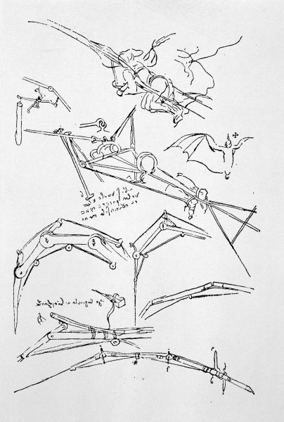 LEONARDO DA VINCI A page of sketches of flying machines
