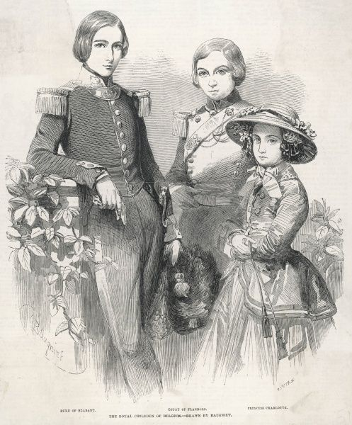 LEOPOLD II DUKE of BRABANT later King of Belgium with brother, Philip and sister, Charlotte