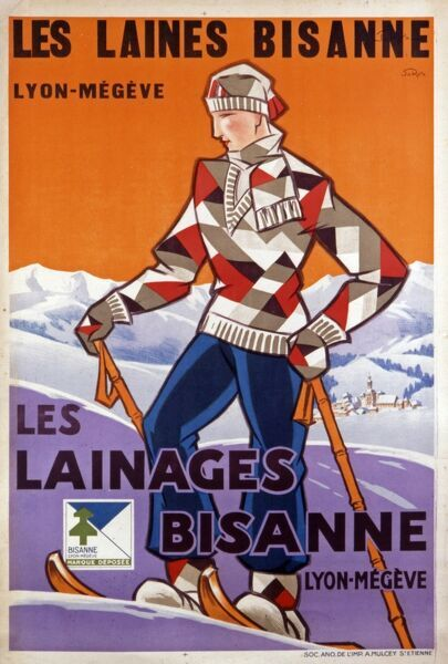 Advertising poster for Les Laines Bisanne, a French wool company from Lyon-Megeve, showing a young man in ski clothing including a geometrically patterned jumper
