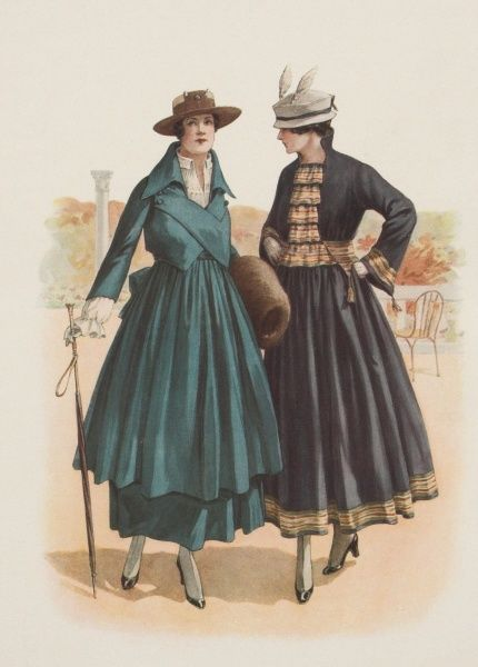 A pair of ladies modelling the latest fashion for coats during World War One