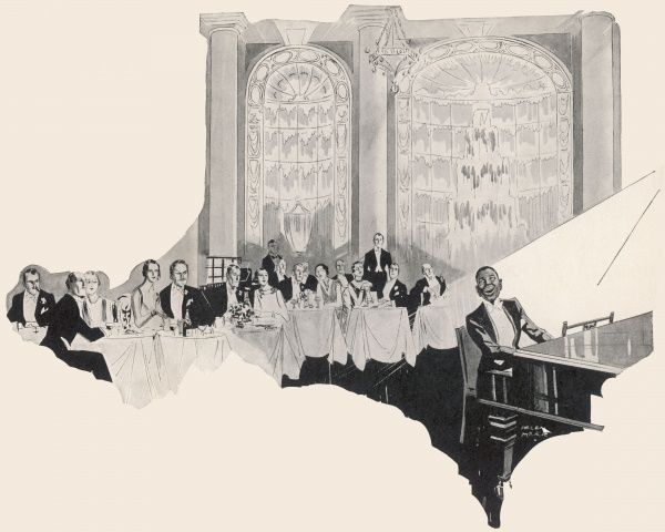 Illustration of Leslie 'Hutch' Hutchinson (1900 - 1969), born in Grenada and one of the biggest cabaret stars of the 1920s and 30s. Pictured here playing the grand piano at the Carlton in London where he did a stint during 1929