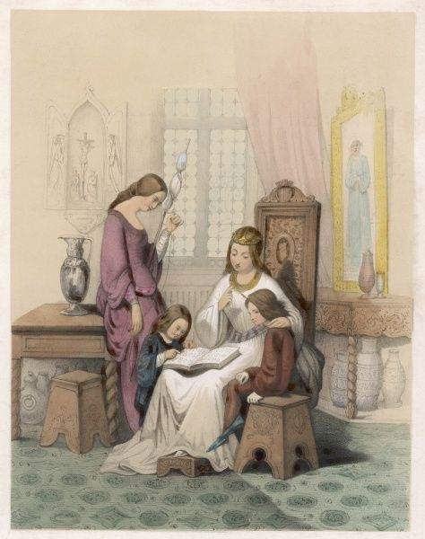 'PATIENCE' A medieval lady teaches two young children to read the alphabet, whilst an older girl watches on holding a spool of wound thread