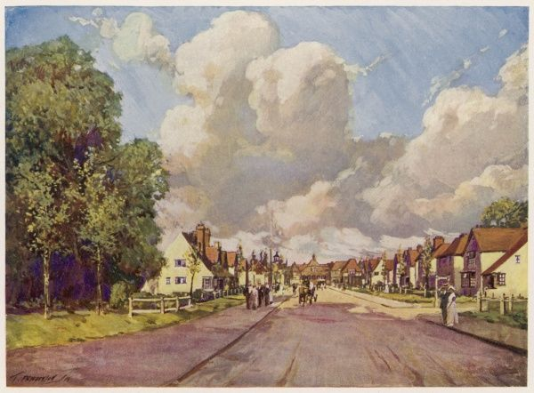 A street of small houses at Hillshott, Letchworth Garden City, Hertfordshire, England