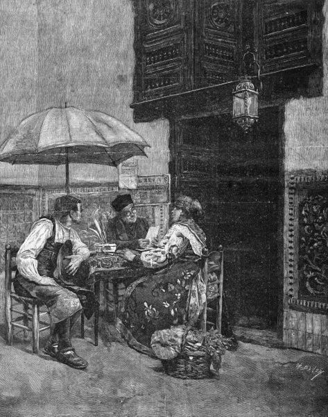 A public letter-writer plies his trade in a Spanish street. Date: 1891