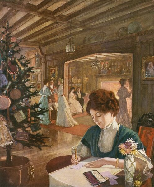 Colour illustration from an advertisement for Onoto self-filling safety fountain pen, depicting an Edwardian Christmas scene with a lady in the foreground sitting and writing a letter or thank you note. Date: 1908