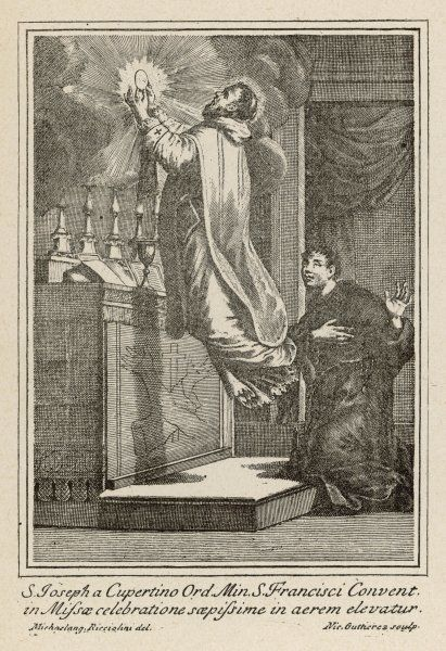 San GIUSEPPE DI COPERTINO (1603-1663) is levitated to the altar while he celebrates mass