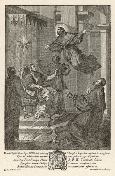 Franciscan friar S. Giuseppe di Copertino is levitated in the presence of pope Urban VIII and others Date: circa 1640