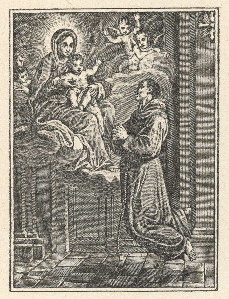 When Brother Humile di Bisignano (died 1631) sees a vision of the Virgin and child, he is levitated