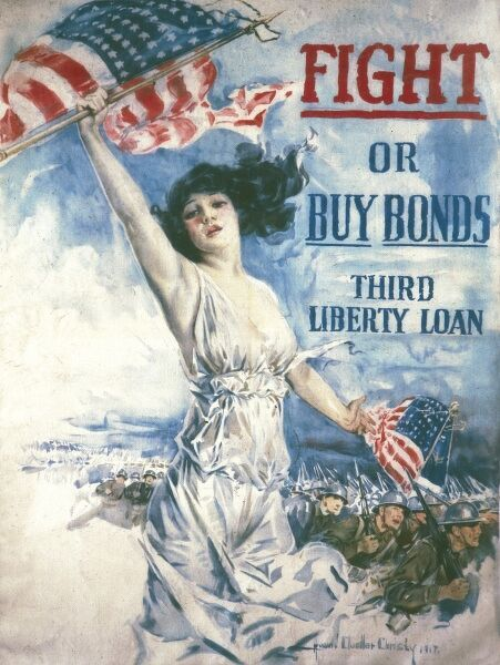 "Poster design by Howard Chandler Christy. The 'beauties' of these posters became known as ""Christy Girls."" This poster for the Third Liberty Loan was the largest fundraising effort in American history"