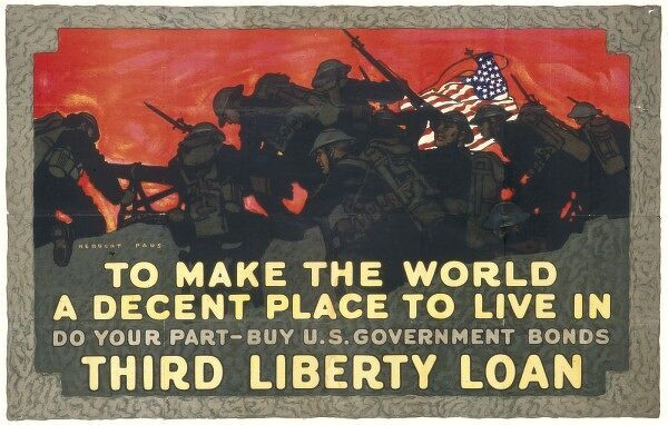 Against a backdrop of the American flag and fighting US troops, the American public are urged to buy US Government war bonds
