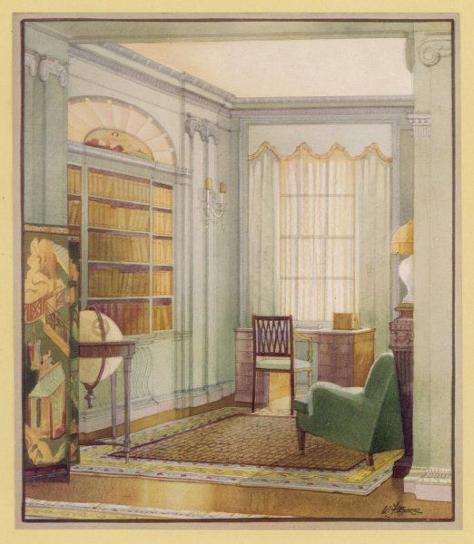 A library in the 18th century style designed by Trollope Studios