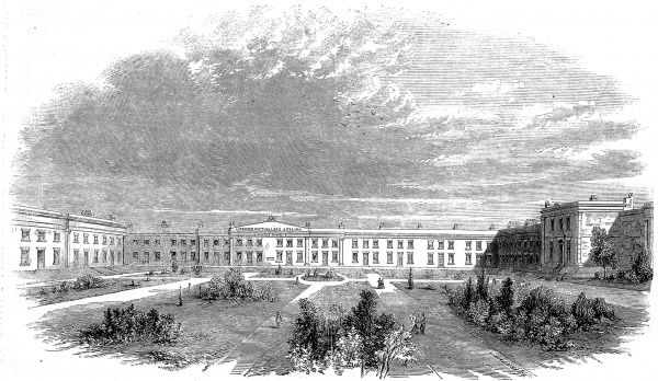 Engraving showing the exterior of the Albert Wing of the Licensed Victuallers' Asylum, Old Kent Road, London, 1858