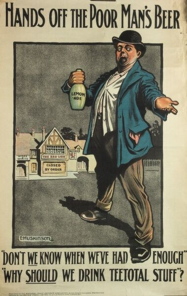 Poster criticising the Licensing Bill proposed by the government in 1908 to reduce licensed premises and curb drinking, while allowing private clubs to carry on without restrictions