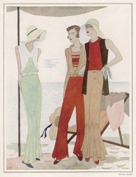 Marcel Rochas designs for the Lido show casual wide legged trousers or beach pyjamas, a blouson jacket, a long gilet or waistcoat & broad floppy brimmed straw hats